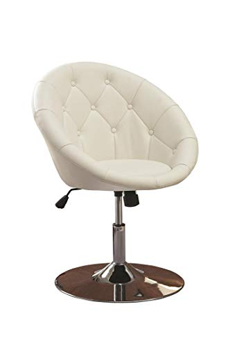 - Round Tufted Swivel Chair White and Chrome