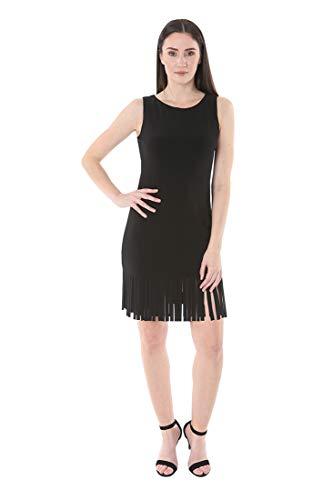 Fringe Dress Hem - bebe Women's Sleeveless Boat Neck Fringe Laser Cut Car Wash Hem Shift Dress Black 10