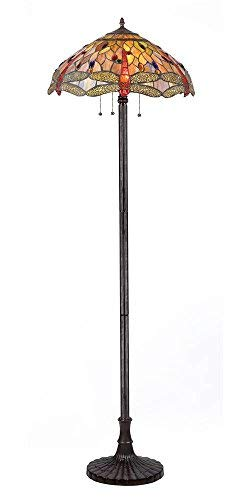 CHLOE Lighting, CH2825DB18-FL3CHLOE Lighting Tiffany-style Dragonfly 3-Light Floor Lamp, 63