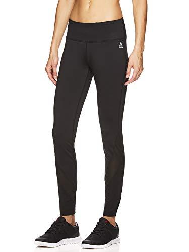 New Black Leggings - Reebok Women's Leggings Full Length Performance Compression Pants - Athletic Workout Leggings for Women for Gym & Sports - Stealth Black, Small