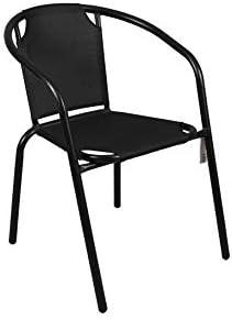 thesecrethome.es Silla Exterior Metalica - Lona Negra. Ideal para TU Jardin O TERRAZA. (73 X 57 X 55 cm): Amazon.es: Jardín