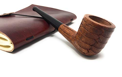 (High Quality Wood Tobacco Pipe Straight Billiard 6 inches, Detachable Durable Solid Ebony Long stem Carved Design)