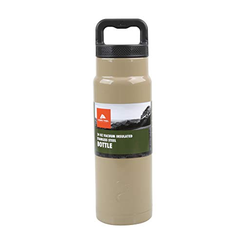 Ozark Trail 24ounce Vacuum Insulated Stainless Steel Water Bottle, Tan