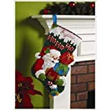 Bucilla 18-Inch Christmas Stocking Felt Applique Kit, 86171 Ho Ho Ho Santa