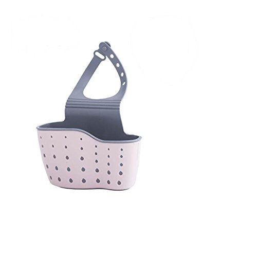 Sweet House for Love Kitchen Sink Hanging Drain Bag Basket Kitchen Strainer Sink Holder Bathroom Storage TPR Basket for Sponges, Peeler, Dish Brushes, Soap and Other small things (3, Multi) (Pink) -