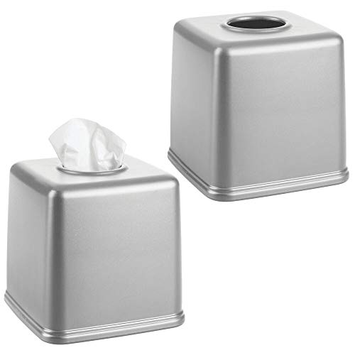 mDesign Plastic Square Facial Tissue Box Cover Holder for Bathroom Vanity Countertops, Bedroom Dressers, Night Stands, Desks and Tables - 2 Pack - Gray