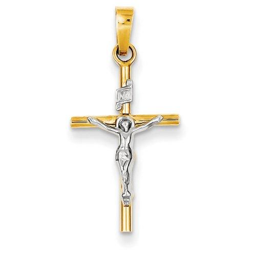 Icecarats Créatrice De Bijoux 14K Bicolore Inri Crucifix Pendentif