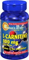 Puritan's Pride L-Carnitine 500mg 60 Coated Caplets 2 Bottles