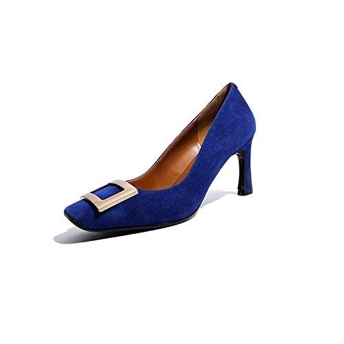 ZHZNVX Summer Black Blue Suede Stiletto Heel Pump Shoes Basic Heels Blue Women's tSwqSrO