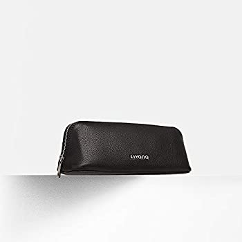 Image of Livana - PerfectTemp Minimalist Makeup Case - Insulated Cosmetic Bag - Smart Beauty Tools - Leather (Onyx)
