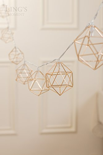 Ling's moment Gold Geometric Metal LED String Lights AA Battery Powered 5.2FT 10 LEDs String Lights for Wedding Minimalist Boho Decor Decorative Patio Parties Gold Bedroom Decor (Soft White)