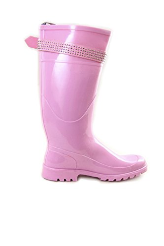And Rain Hello With Colors Pink Dark Strap Kitty Buckle Studded Lilac Blue Boots Pvc 0gxTg1