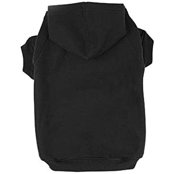 BINGPET Blank Basic Cotton/Polyester Pet Dog Sweatshirt Hoodie BA1002 , Black Extra large