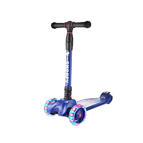 Tongboshi Scooter, One-Second Folding Lift Flash Four-Wheel Scooter, Pink/Blue, Best Gift Latest Models (Color : Blue)