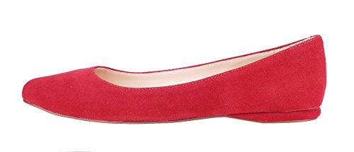 queenfoot Pump602 - Mocasines de Ante para mujer C-Red suede