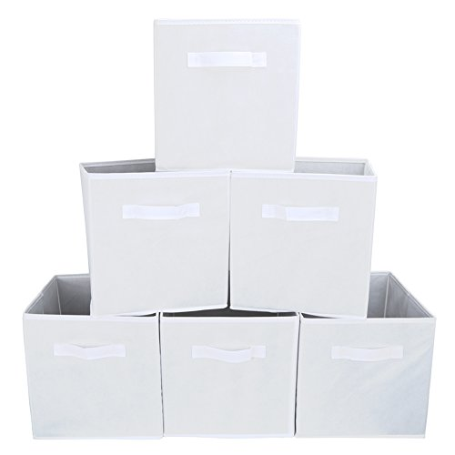 Set of 6 Foldable Fabric Basket Bin, EZOWare Collapsible Storage Cube For Nursery, Office, Home Décor, Shelf Cabinet, Cube Organizers - (White Cube)