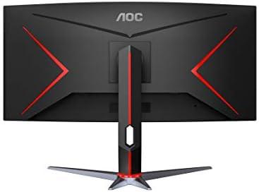 AOC CU34G2X Monitor de juegos inmersivo curvo sin marco de 34 , UltraWide QHD 3440x1440, panel VA, 1 ms 144Hz Freesync, altura ajustable, 3 años de cero píxeles muertos