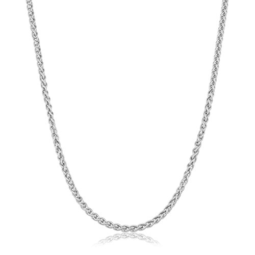 Sterling Silver Neck Chain (Sterling Silver 1.5mm Round Wheat Chain (18 inch))