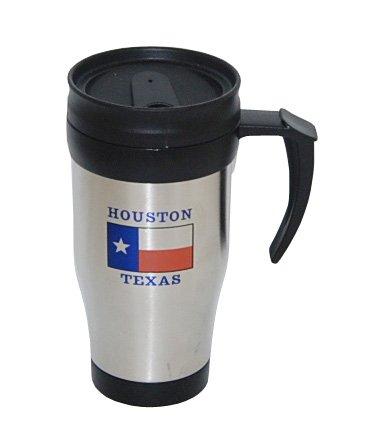 Houston Mug - Houston Texas Steel Travel Mug Featuring Texas Flag
