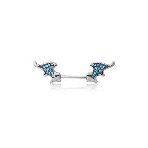 Adatto Nipple Piercing Jewelry Surgical Steel Crystaline Jeweled Nipple Shield - Bat Wing 14g