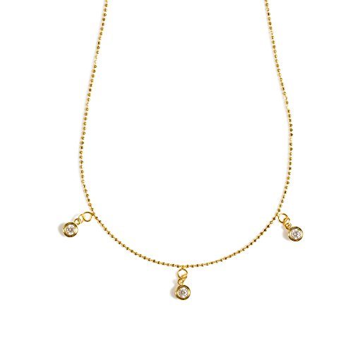 Delicate Pendant Necklaces for Women Girls -Gold Plated, Cubic Zirconia CZ Crystal Charm, Fine Chain, Dainty Simple Jewelry for Layering, Gold,Rose,Silver Tone (CZ Crystal Drop Necklace (Gold Tone))