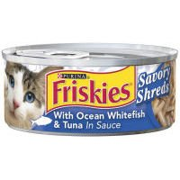 "Friskies Wet Cat Food â€"" Savory Shreds With Ocean Whitef"