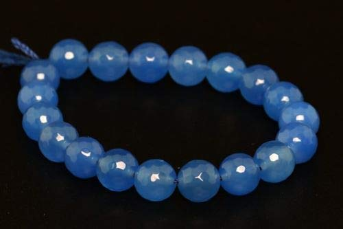 10mm Natural Blue Agate Beads Grade A Faceted Round Loose Beads 7