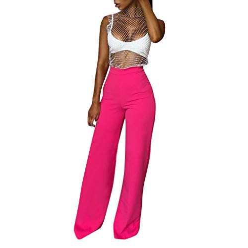 Colmkley Women's Fashion Loose Slim Wide Leg Pants Solid Color Casual Trousers Hot Pink - Slimming Jeans Aura Instantly