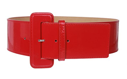 Ladies High Waist Wide Patent Fashion Plain Leather Belt, Red | L/XL - - Ladies Leather Red