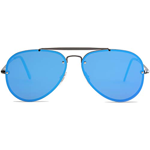 SOJOS Rimless Aviator Sunglasses for Men and Women Metal Frame Mirrored Lens TRENDALERT SJ1105 with Gun Frame/Blue Mirrored Lens ()
