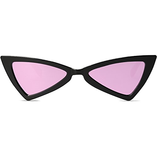 SOJOS Designer Cateye Triangle Sunglasses High Pointed Flat Mirrored Lens SJ2051 with Black Frame/Pink Mirrored ()