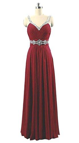 Vantexi Women's Rhinestone Long Bridesmaid Formal Prom Dress Burgundy 12