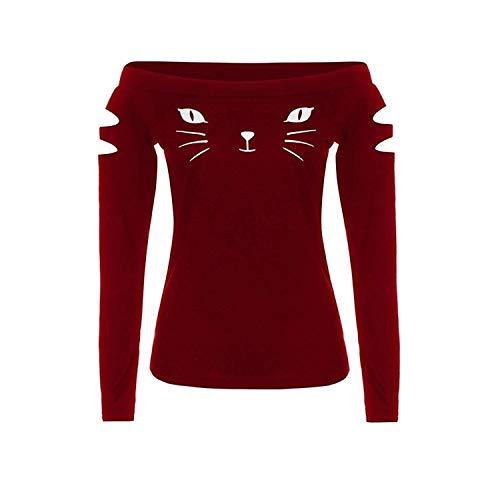 Donna Stampato Grazioso Lunga Tops Shirts Primaverile Elegante Libero Tempo Gatto Camicetta Blusa Moda Camicia Maglietta Felpe Autunno Stlie Hollow Rot z7dgqxIndp