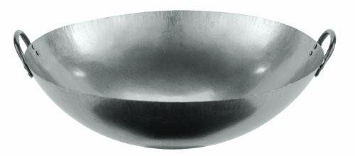 (Paderno World Cuisine 24-Inch Dual Handled Steel Chinese Wok)