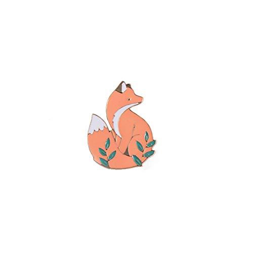 TraveT Cute Fox Metal Enamel Brooch Pin for Women Girls Cartoon Animal Brooch Badge Lapel Pins Fashion Jewelry for Kids Adults Gift