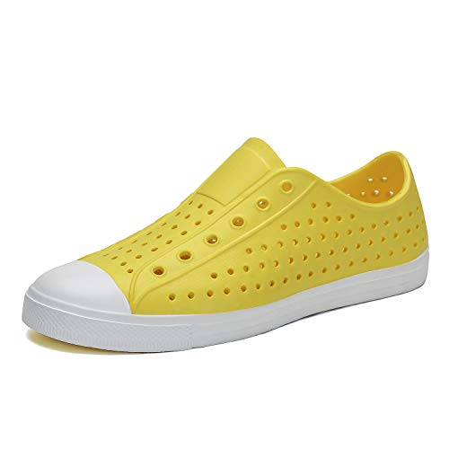 SAGUARO Mens Womens Lightweight Breathable Slip-On Sneaker Garden Clogs Beach River Sandals Water Shoes Yellow 12.5 M US Women / 11 M US Men
