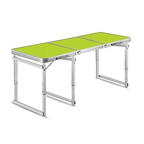 HAKN Mesa Plegable, Ajuste De Altura De Aluminio Rectangular, Buena Estabilidad, Antideslizante, Capacidad De Carga De 50 Kg (2 Colores) (Color : Green (Umbrella Hole))