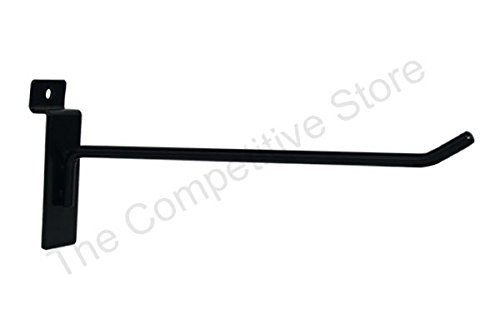 8'' Slatwall Hooks For Slat Panel Display - 25 Pcs Box - 1/4'' Dia Wire - Standard Duty - Black Color by The Competitive Store