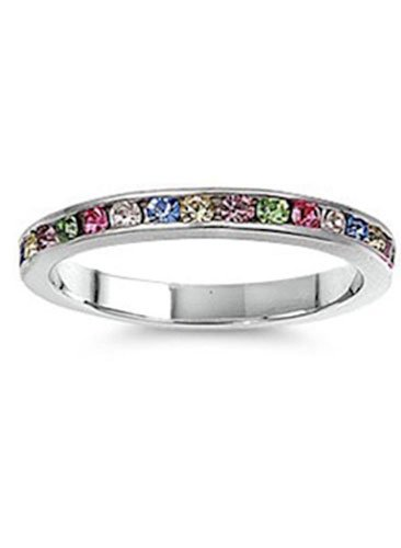 Swarovski Ring Color Crystal Multi - Sterling Silver Classy Eternity Band Ring with Multi Color Swarovski Simulated Crystals on Channel Setting with Rhodium Finish, Band Width 3MM - Crazy2Shop