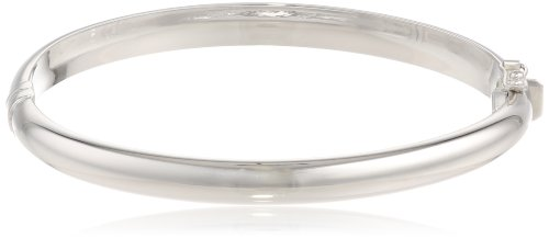 10k White Gold 6.1mm Polished Dome Bangle Bracelet, 2 1/2'' by Amazon Collection