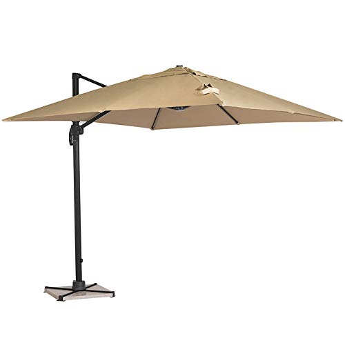 SUNCROWN 10 ft Outdoor Umbrella 360 Degree Rotation, Square Offset Cantilever Umbrella Patio Hanging Umbrella w/Dual Wind Vent, Cross Base, Beige
