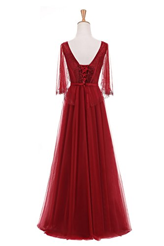 A Floor Wedding Gown Evening Length Dresses Prom Classical Line Sleeves Burgundy Sunvary HwxX4X
