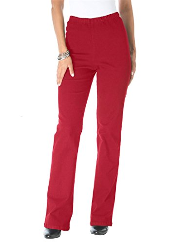 Roamans Plus Size Roaman's Tall Stretch Bootcut Leggings (Classic Red,14 T)