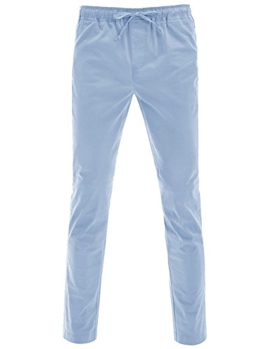 NEARKIN (NKNKLP771) Mens Daily Casual Drawstring Waistband Solid Cotton Pants SKYBLUE W35~W37(Tag size XL) by NEARKIN