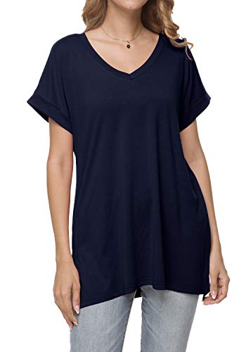 (Women Summer Casual Knit Short Sleeve Tunic T Shirt Top Sweatshirt Deep Blue M)