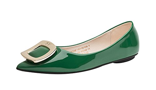 Freerun Women's Dressy Pointed Toe Slip-on Low Top Comfort Flats (6 B(M)US,green)
