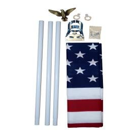 3' x 5' Poly/Cotton American Made US Flag With Pole And Bracket 5' Poly Cotton Flag