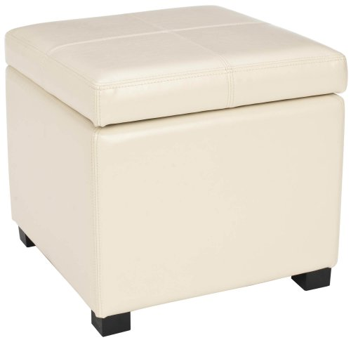 Safavieh Hudson Collection Williamsburg Cream Leather Square Storage Ottoman For Sale