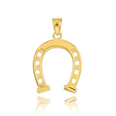 Solid 14k Yellow Gold Lucky Charm Horseshoe Pendant by Claddagh Gold