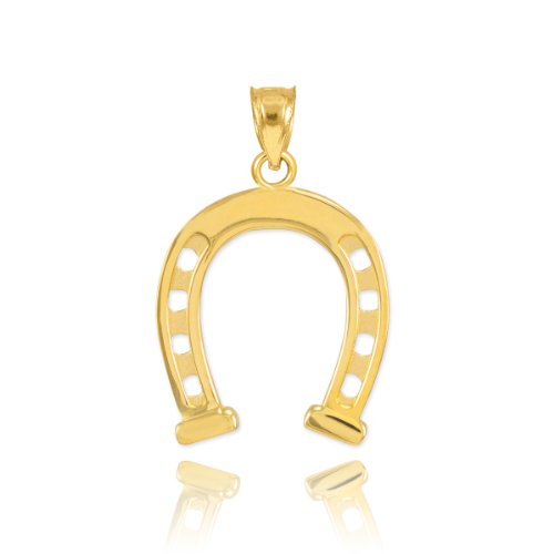 Solid 14k Yellow Gold Lucky Charm Horseshoe Pendant